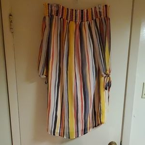 Ana colorful stripe off the shoulder dress
